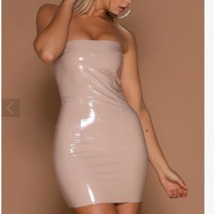 (NWT) Meshki | Tan Latex Strapless Dress | Sz L